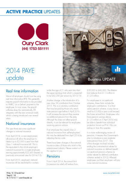 Active Practice Update - 2014 PAYE Update - February 2014