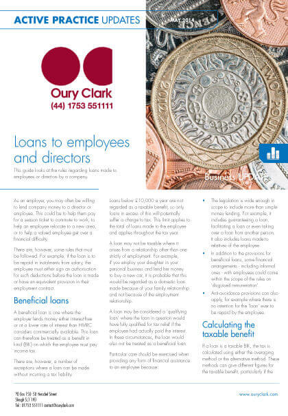Active Practice Update - Loans to employees and directors - May 2014