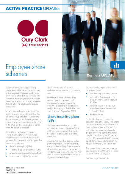 Active Practice Update - Employee share schemes - April 2014