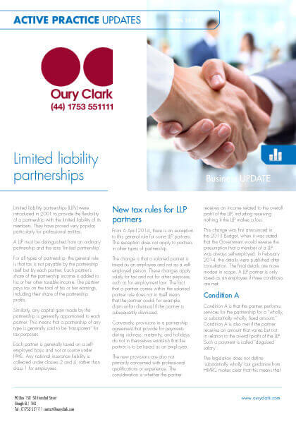 Active Practice Update - Limited liability partnerships - April 2014
