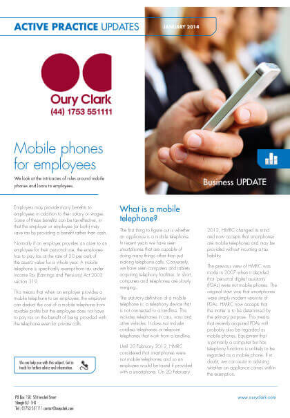 Active Practice Update - Mobile phones for employees - January 2014