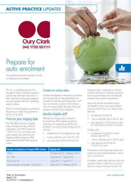 Active Practice Update - Prepare for auto enrolment - July 2014