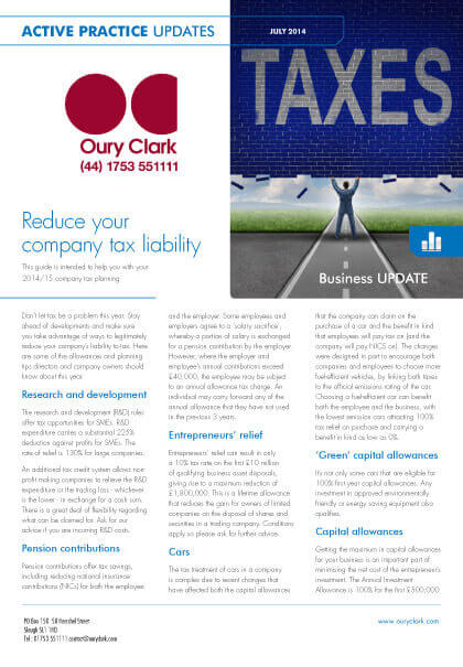 Active Practice Update - Reduce your company tax liability - July 2014