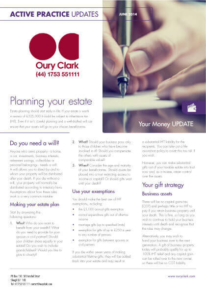 Active Practice Update - Planning your estate - June 2014