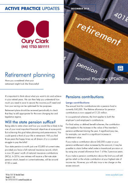 Active Practice Update - Retirement planning