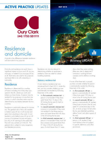 Active Practice Update - Residence and domicile - May 2014
