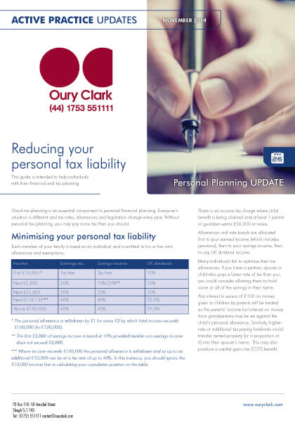 Active Practice Update - Reducing your personal tax liability