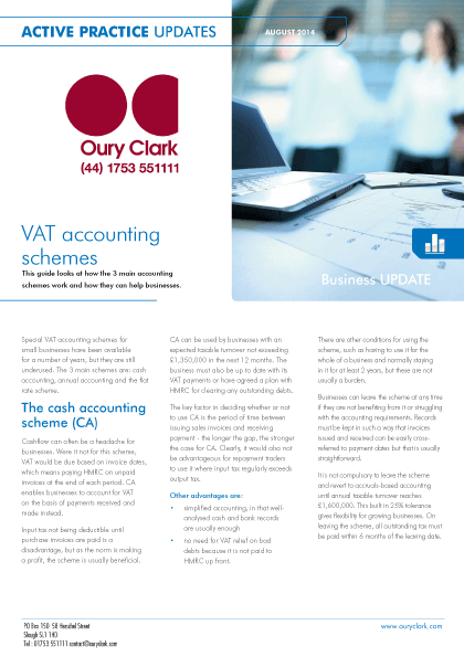 Active Practice Update - VAT accounting schemes