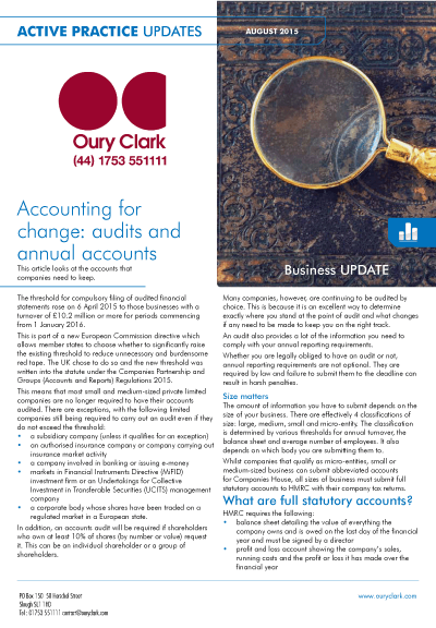 Active Practice Update - Accounting for change: audits and annual accounts