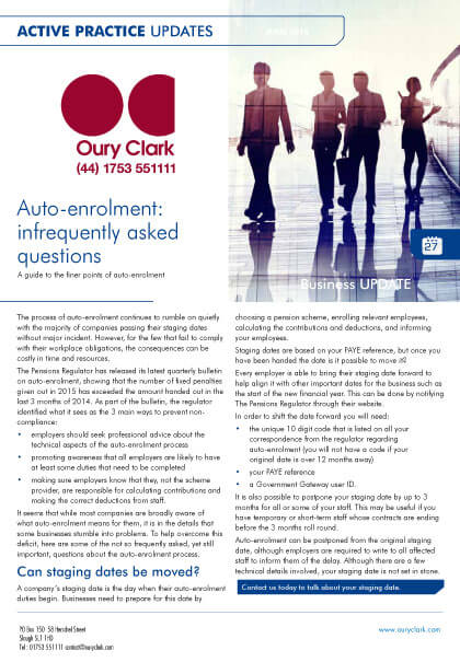 Active Practice Update - Auto-enrolment: infrequently asked questions