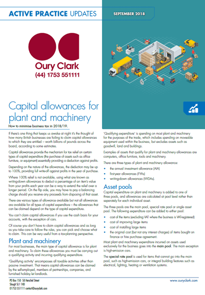 Capital allowances for plant and machinery