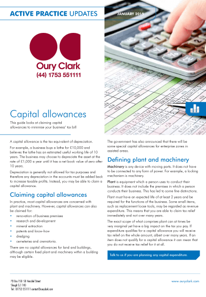 Active Practice Update - Capital allowances