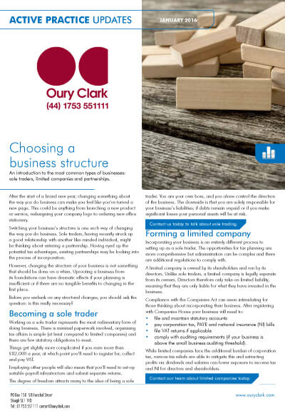 Active Practice Update - Choosing a business structure