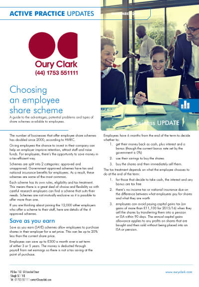 Active Practice Update - Choosing an employee share scheme