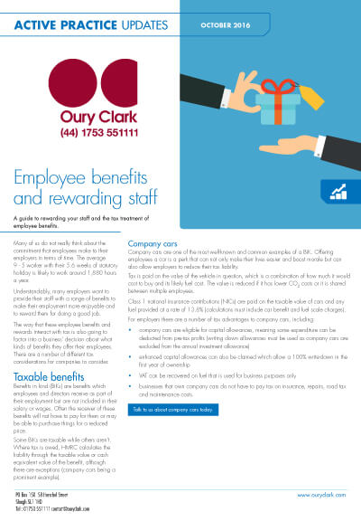 Employee benefits and rewarding staff