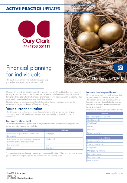 Active Practice Update - Financial planning for individuals