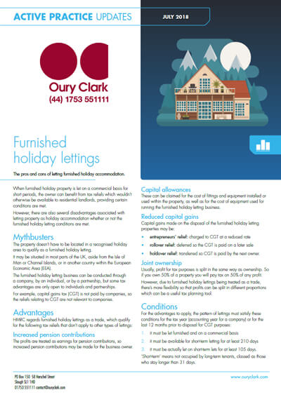 Furnished holiday lettings