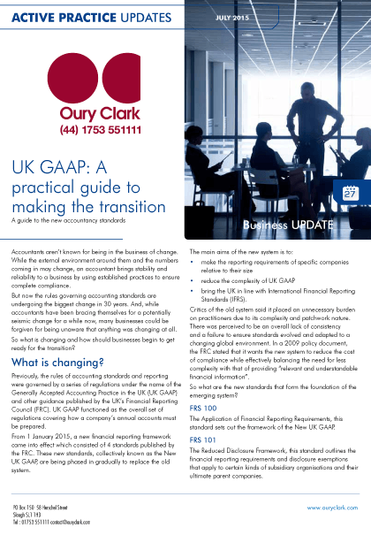 Active Practice Update - UK GAAP: A practical guide to making the transition