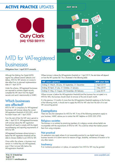Making Tax Digital for VAT-registered businesses