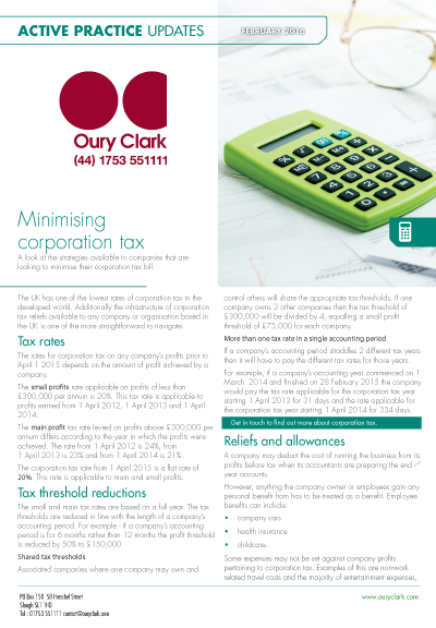 Active Practice Update - Minimising corporation tax