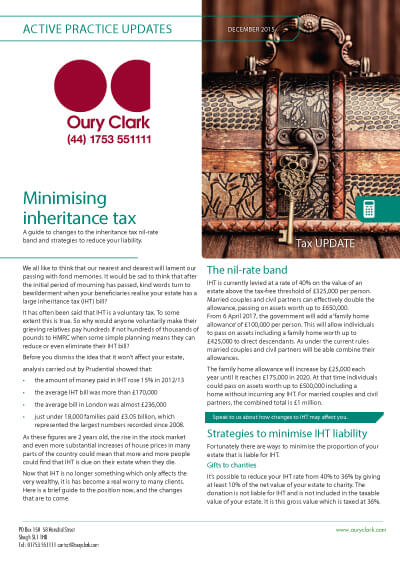 Active Practice Update - Minimising inheritance tax