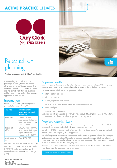 Active Practice Update - Personal tax planning