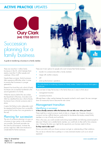 Active Practice Update - Succession planning for a family business