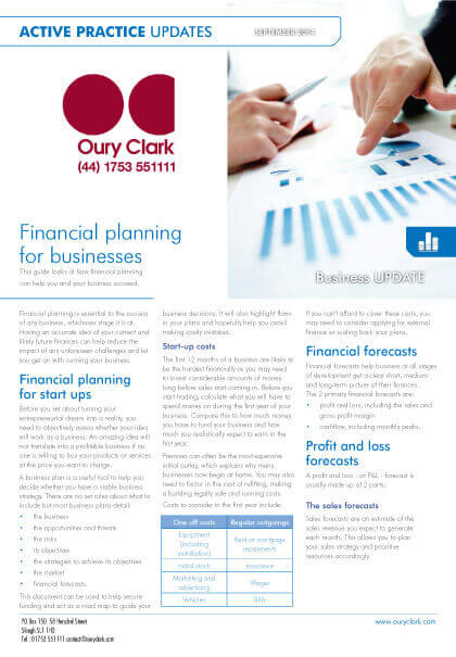 Active Practice Update - Financial planning for businesses